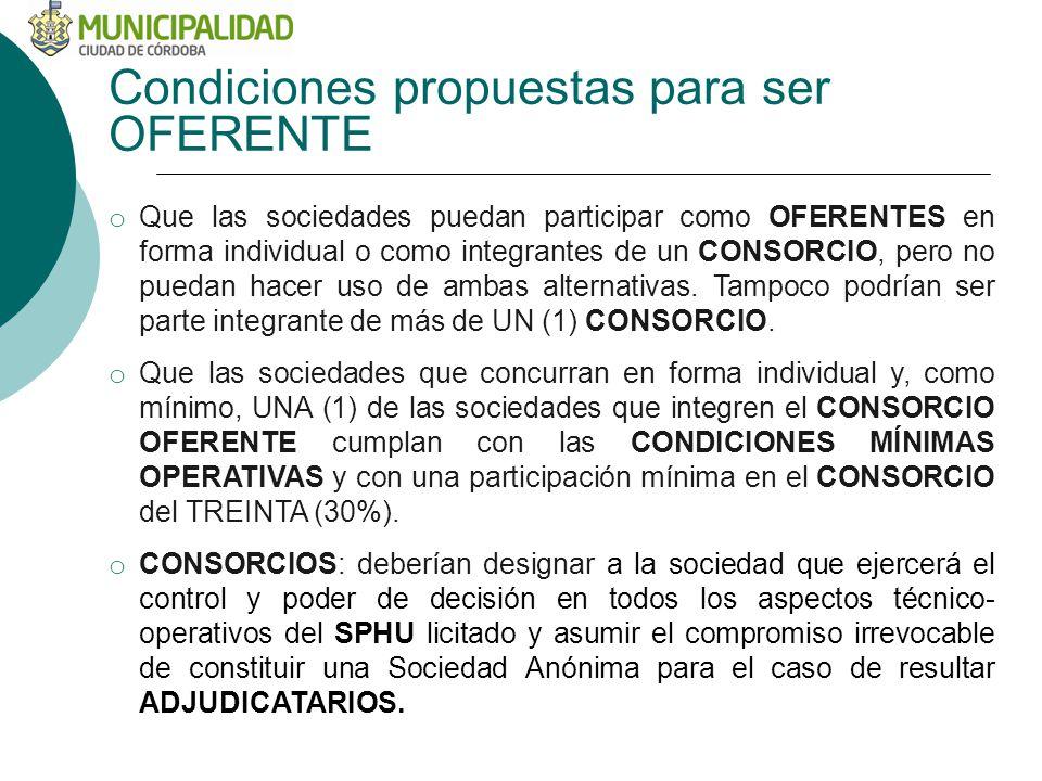 Condiciones propuestas para ser OFERENTE