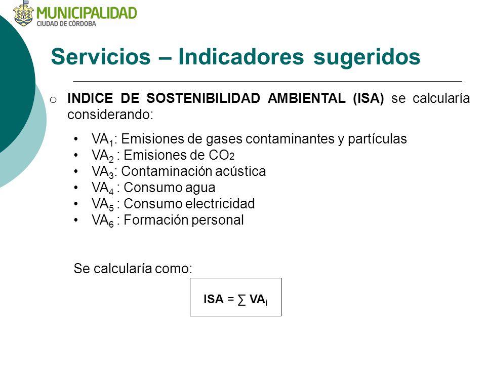 Servicios – Indicadores sugeridos