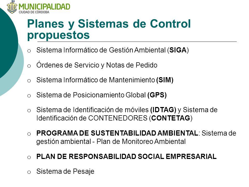 Planes y Sistemas de Control propuestos