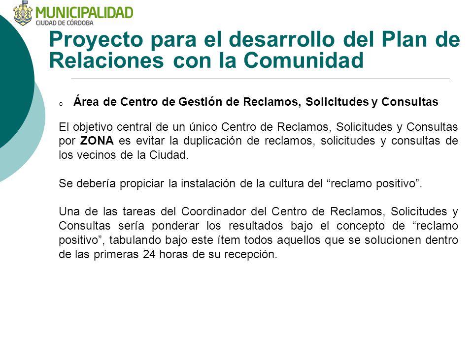 Proyecto para el desarrollo del Plan de Relaciones con la Comunidad