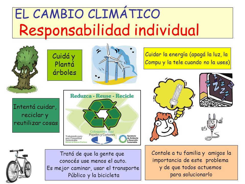 EL CAMBIO CLIMÁTICO Responsabilidad individual