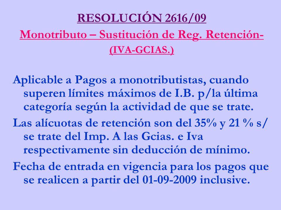 Monotributo – Sustitución de Reg. Retención-