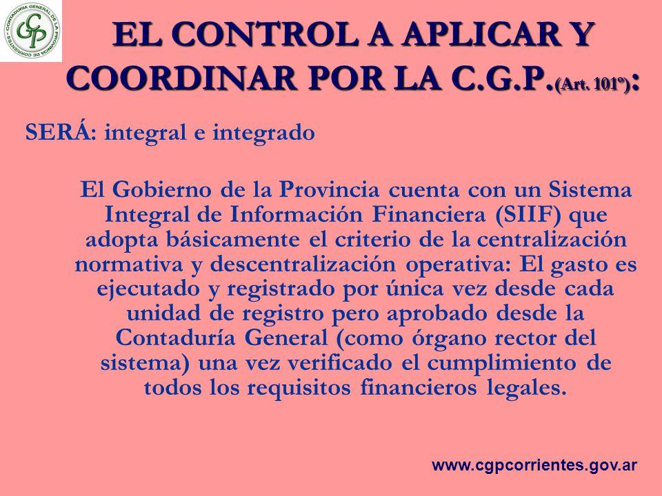 EL CONTROL A APLICAR Y COORDINAR POR LA C.G.P.(Art. 101º):