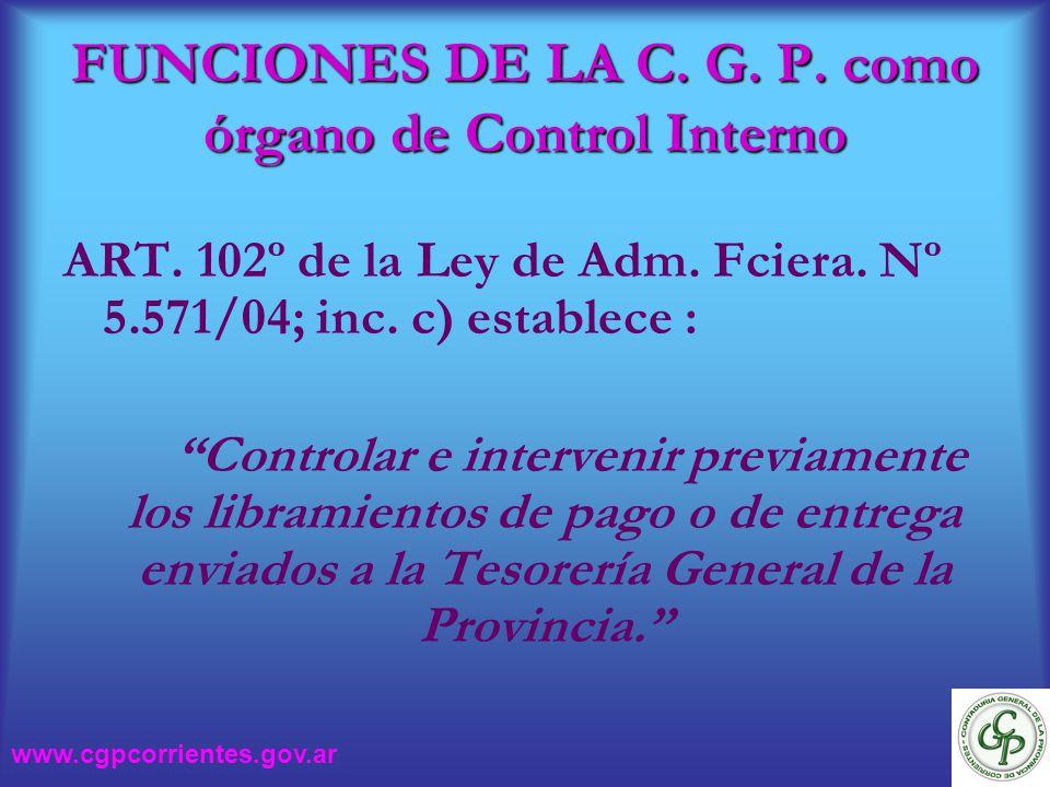FUNCIONES DE LA C. G. P. como órgano de Control Interno