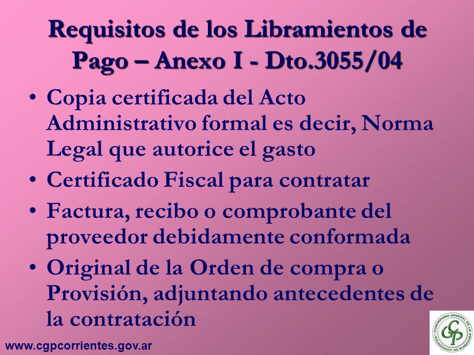Requisitos de los Libramientos de Pago – Anexo I - Dto.3055/04
