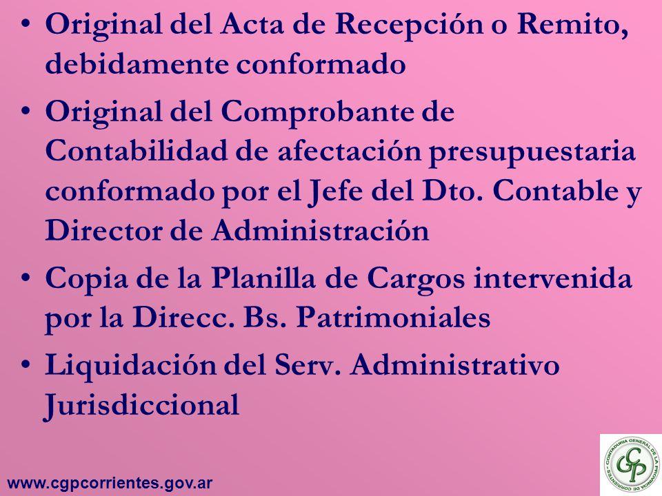 Original del Acta de Recepción o Remito, debidamente conformado