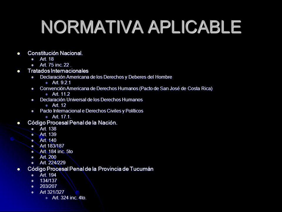 NORMATIVA APLICABLE Constitución Nacional. Tratados Internacionales