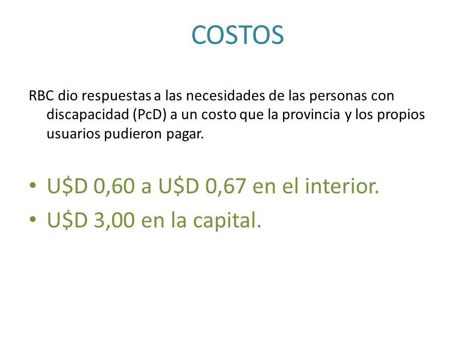 COSTOS U$D 0,60 a U$D 0,67 en el interior. U$D 3,00 en la capital.