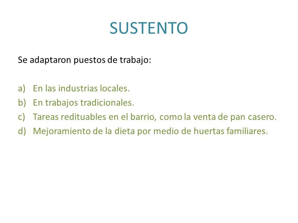 SUSTENTO Se adaptaron puestos de trabajo: En las industrias locales.