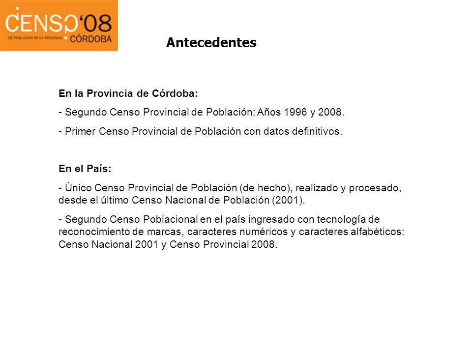 Antecedentes En la Provincia de Córdoba: