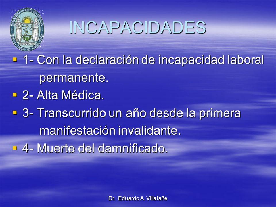 INCAPACIDADES 1- Con la declaración de incapacidad laboral permanente.