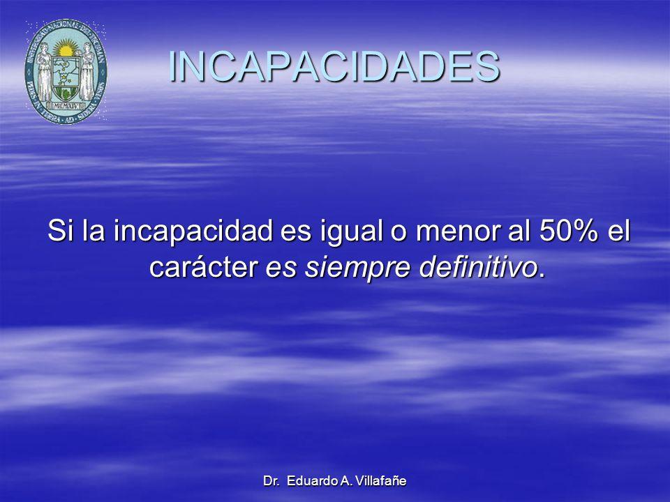 INCAPACIDADES Si la incapacidad es igual o menor al 50% el carácter es siempre definitivo.