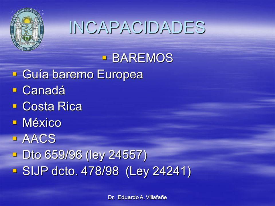 INCAPACIDADES BAREMOS Guía baremo Europea Canadá Costa Rica México