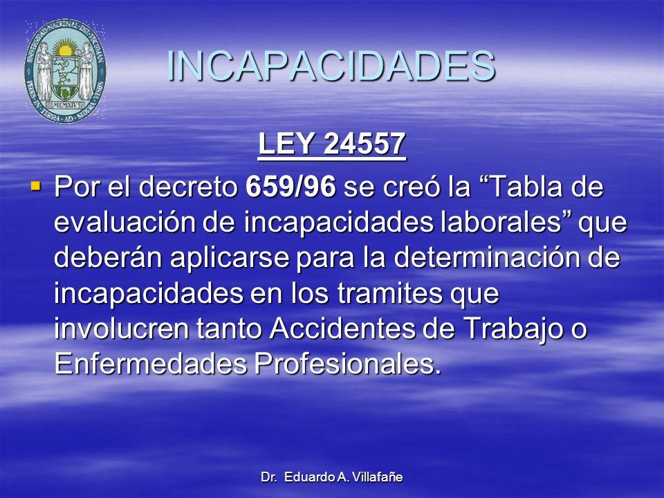INCAPACIDADES LEY 24557.