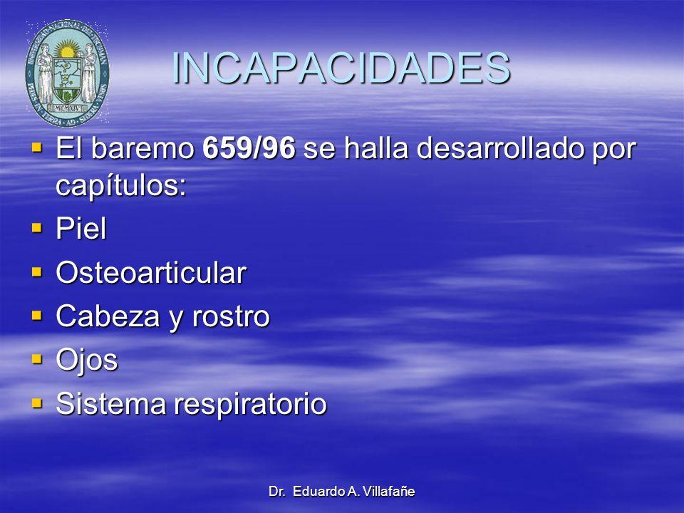 INCAPACIDADES El baremo 659/96 se halla desarrollado por capítulos: