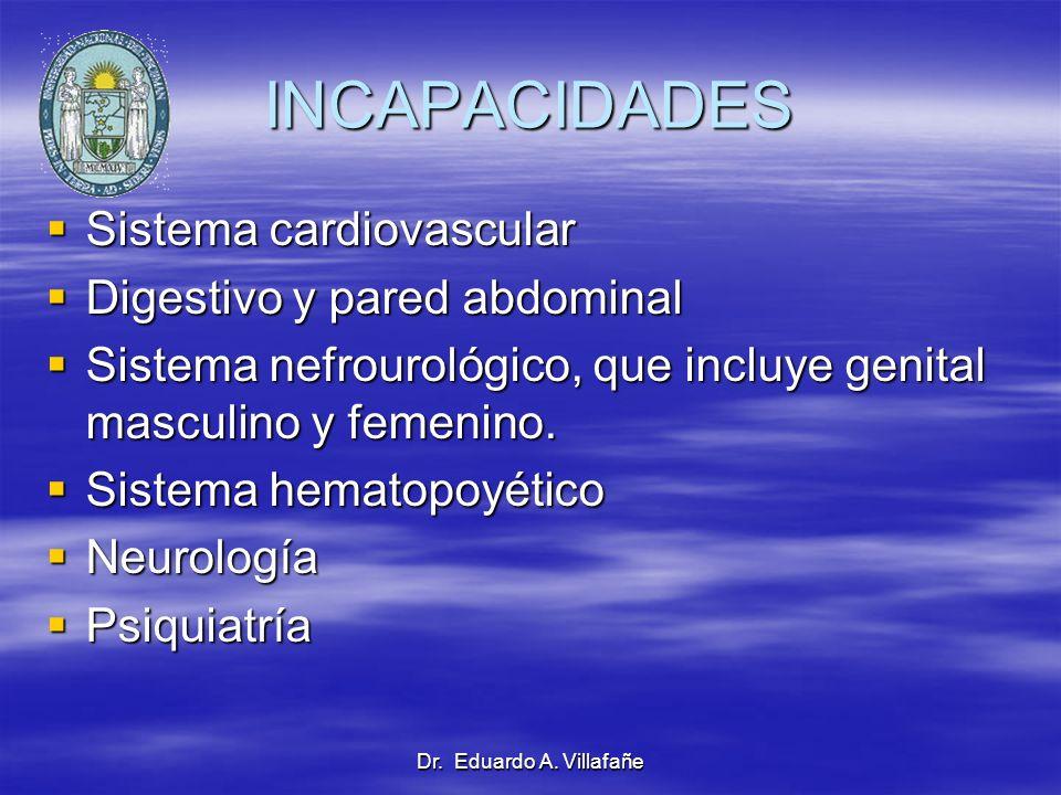 INCAPACIDADES Sistema cardiovascular Digestivo y pared abdominal