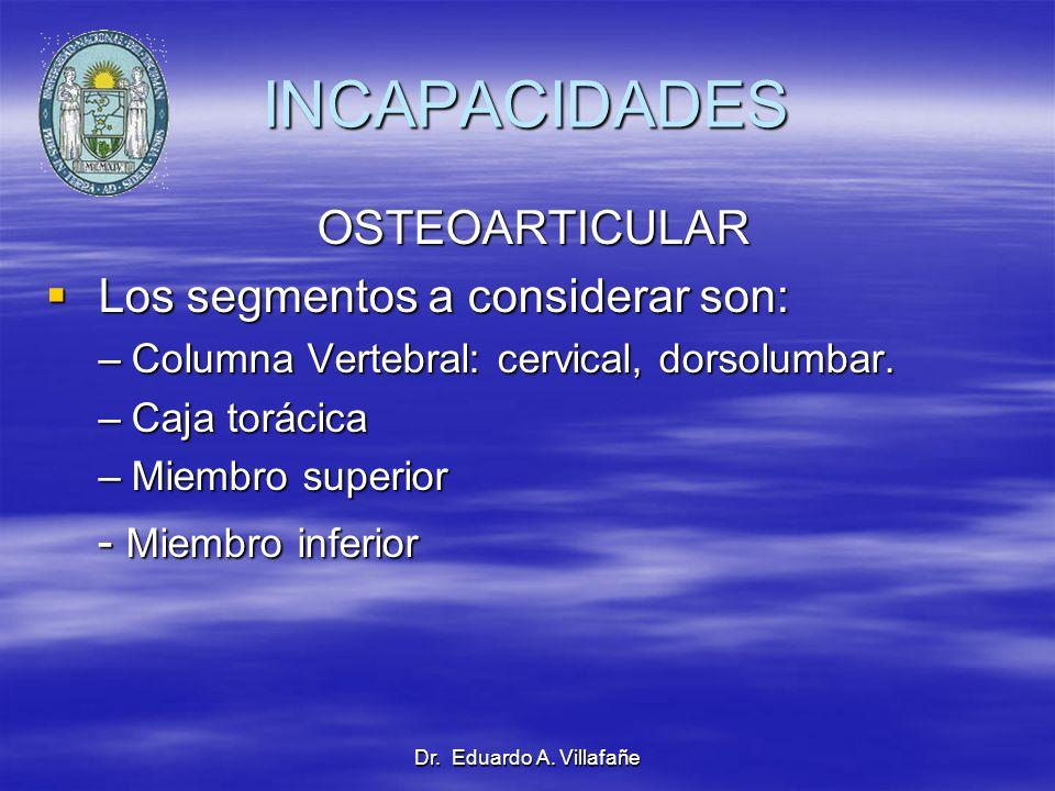 INCAPACIDADES OSTEOARTICULAR Los segmentos a considerar son: