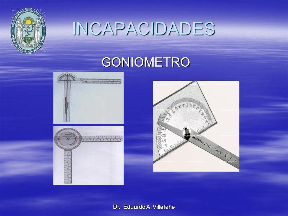 INCAPACIDADES GONIOMETRO Dr. Eduardo A. Villafañe