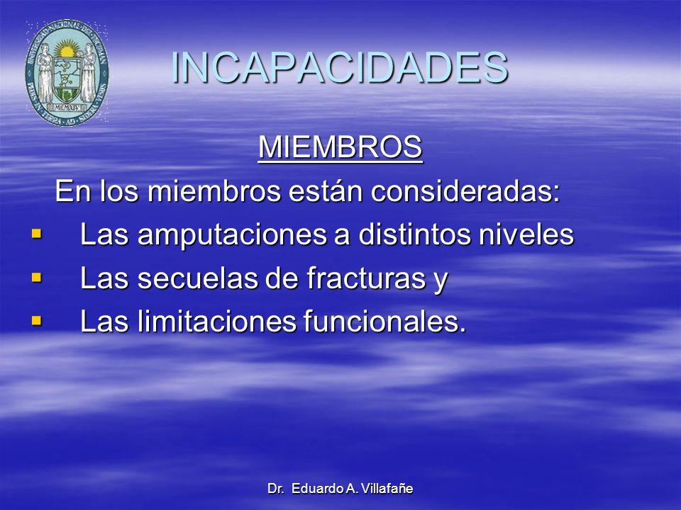 INCAPACIDADES MIEMBROS En los miembros están consideradas: