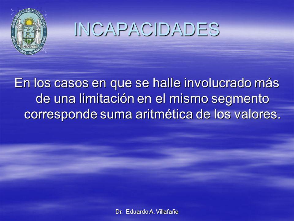 INCAPACIDADES En los casos en que se halle involucrado más de una limitación en el mismo segmento corresponde suma aritmética de los valores.