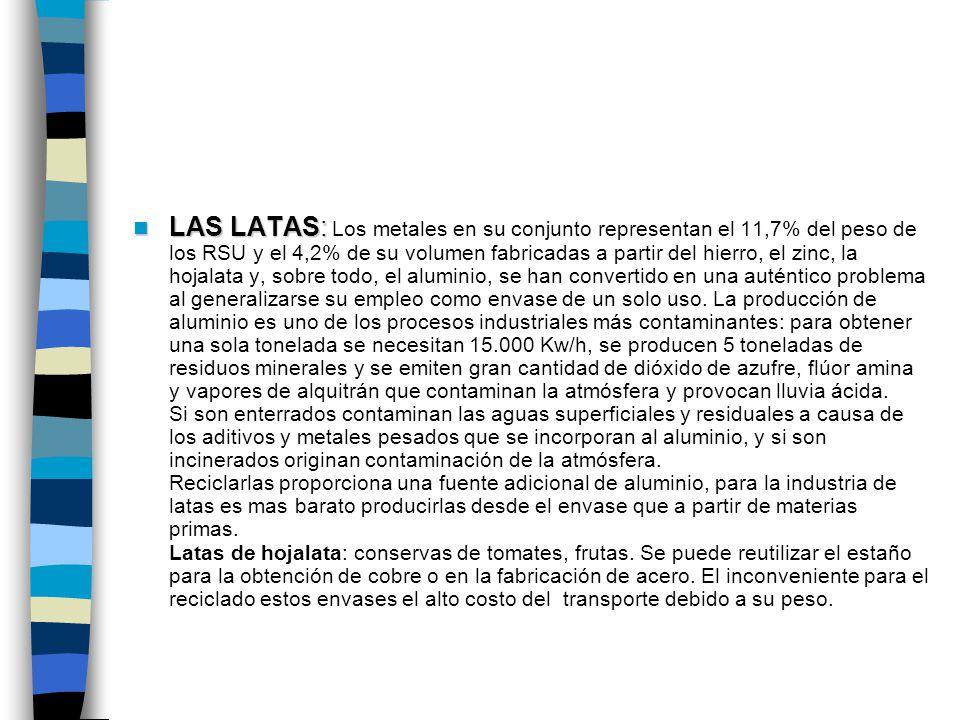 LAS LATAS: Los metales en su conjunto representan el 11,7% del peso de los RSU y el 4,2% de su volumen fabricadas a partir del hierro, el zinc, la hojalata y, sobre todo, el aluminio, se han convertido en una auténtico problema al generalizarse su empleo como envase de un solo uso.