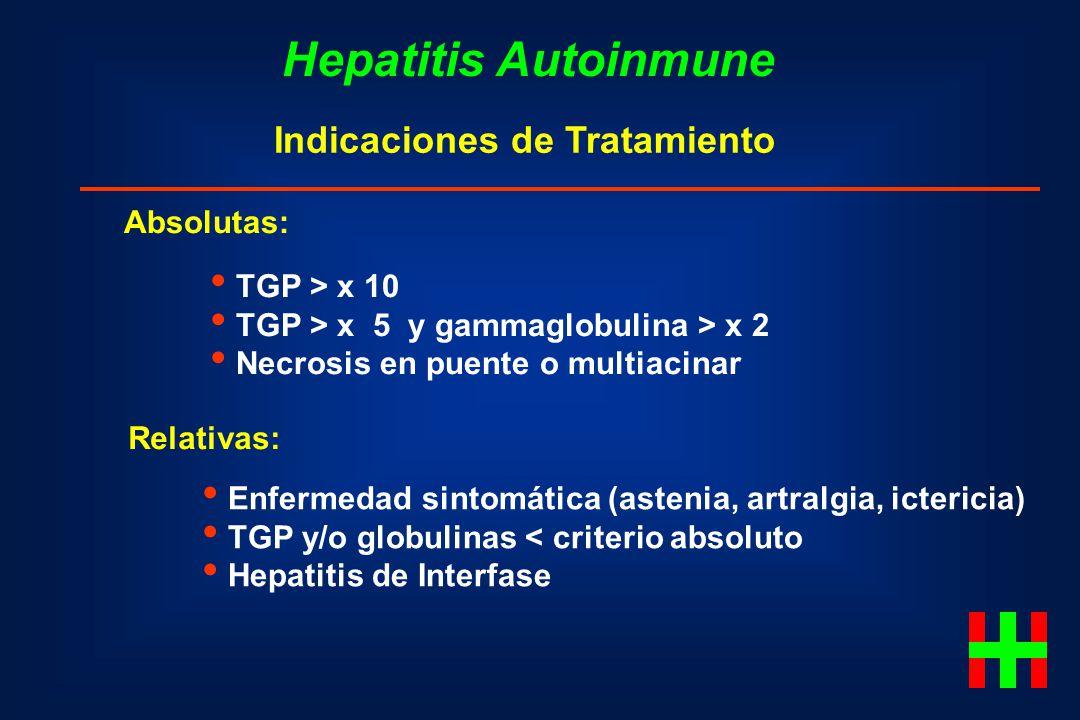 Hepatitis Autoinmune Indicaciones de Tratamiento Absolutas: