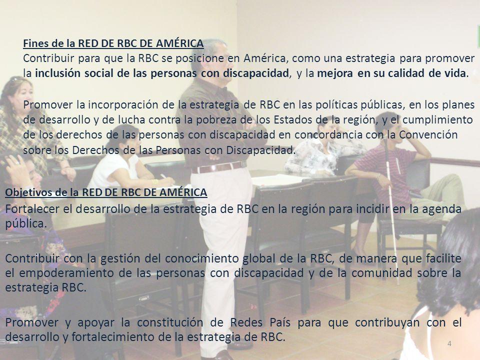 Fines de la RED DE RBC DE AMÉRICA Contribuir para que la RBC se posicione en América, como una estrategia para promover la inclusión social de las personas con discapacidad, y la mejora en su calidad de vida. Promover la incorporación de la estrategia de RBC en las políticas públicas, en los planes de desarrollo y de lucha contra la pobreza de los Estados de la región, y el cumplimiento de los derechos de las personas con discapacidad en concordancia con la Convención sobre los Derechos de las Personas con Discapacidad.