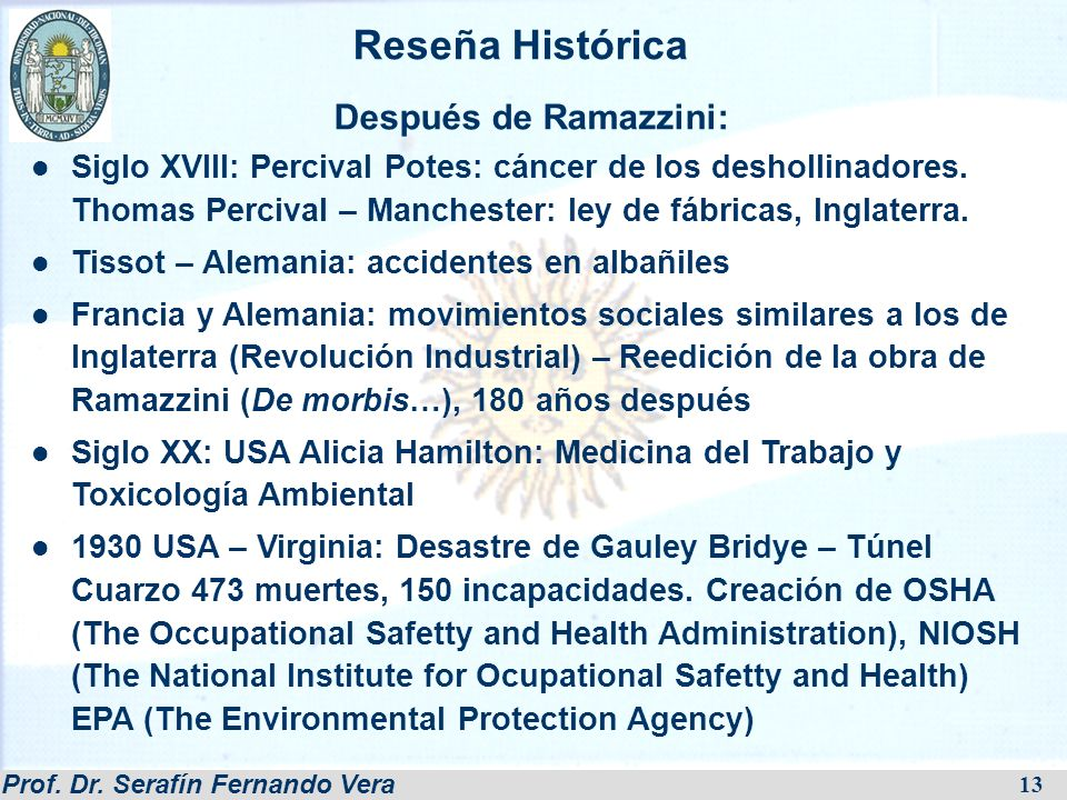 Reseña Histórica Después de Ramazzini: