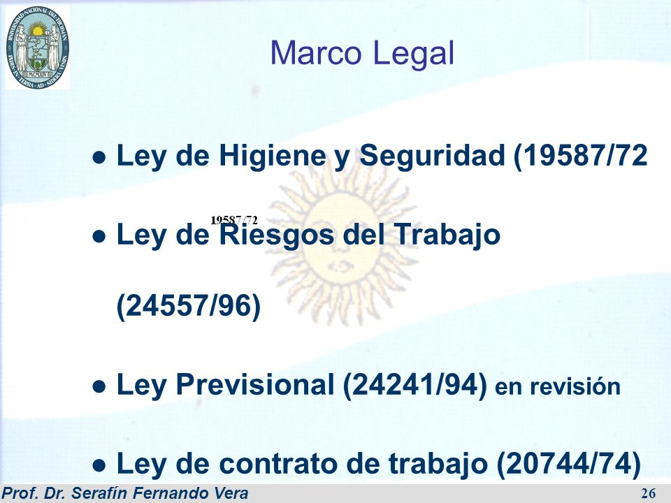 Marco Legal Ley de Higiene y Seguridad (19587/72