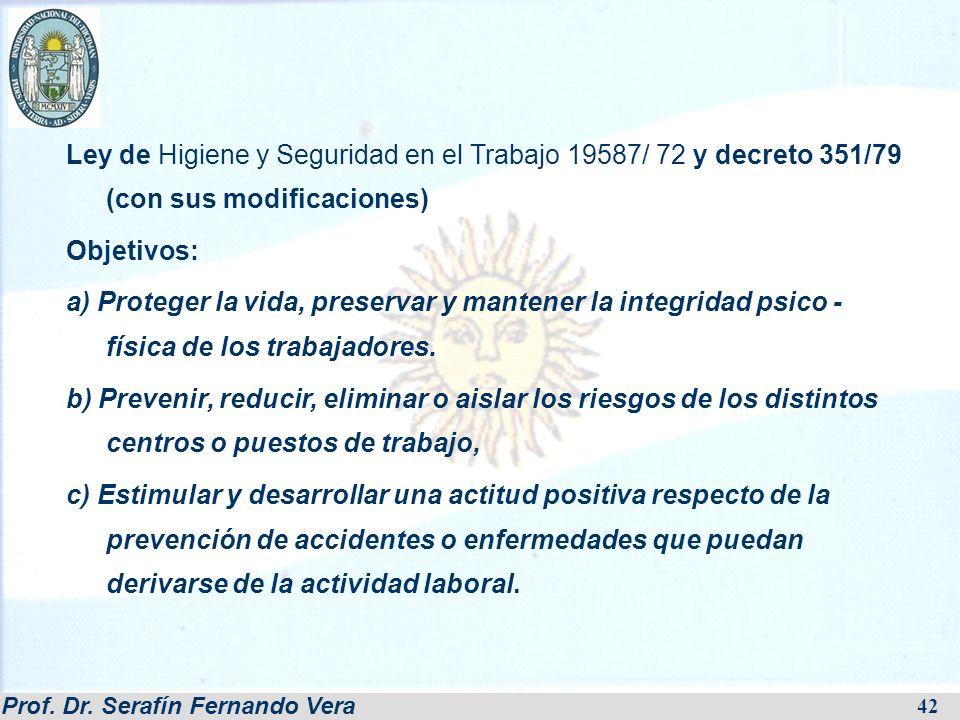 Ley de Higiene y Seguridad en el Trabajo 19587/ 72 y decreto 351/79 (con sus modificaciones)