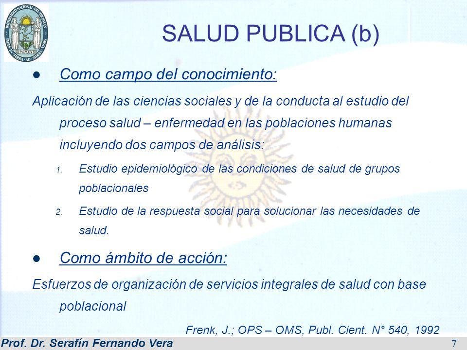 SALUD PUBLICA (b) Como campo del conocimiento: Como ámbito de acción: