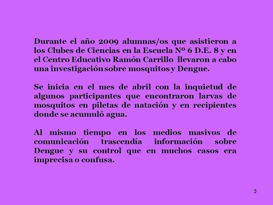 Durante el año 2009 alumnas/os que asistieron a los Clubes de Ciencias en la Escuela Nº 6 D.E. 8 y en el Centro Educativo Ramón Carrillo llevaron a cabo una investigación sobre mosquitos y Dengue.