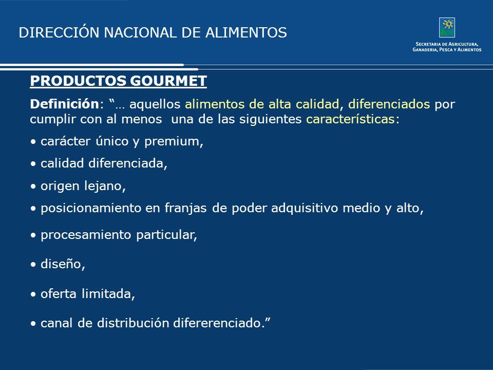 PRODUCTOS GOURMET Definición: … aquellos alimentos de alta calidad, diferenciados por cumplir con al menos una de las siguientes características: