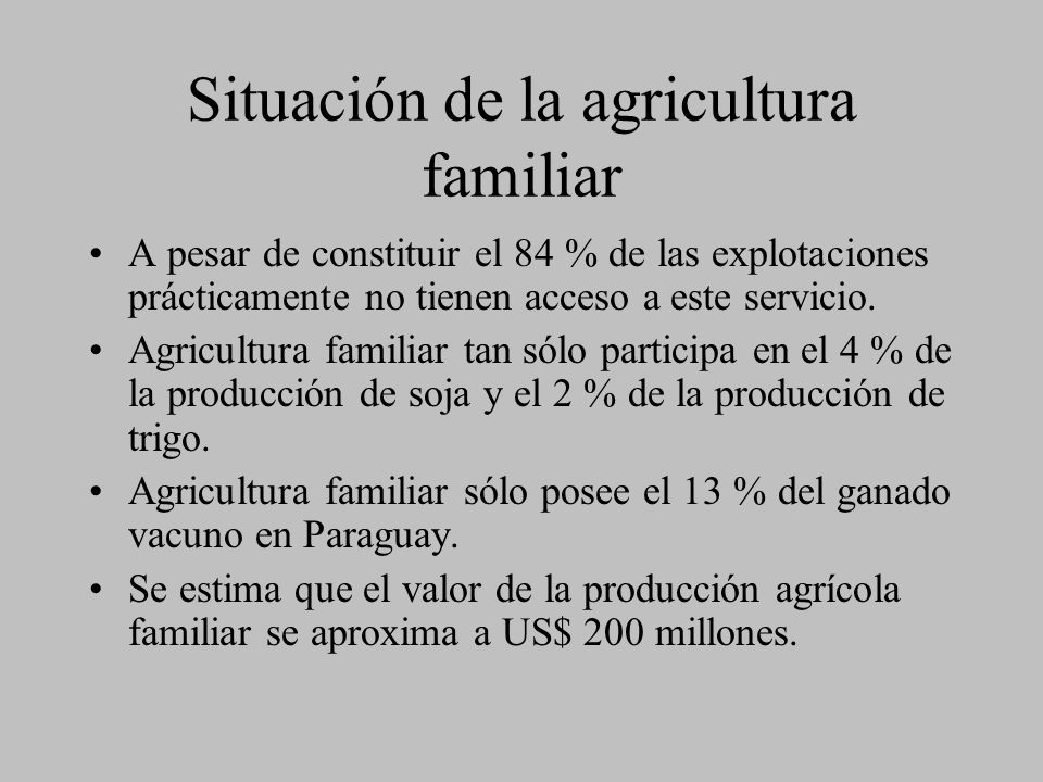 Situación de la agricultura familiar