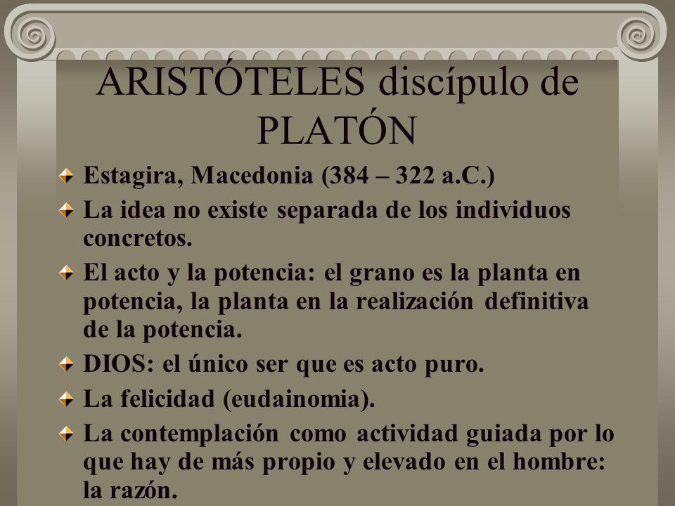 ARISTÓTELES discípulo de PLATÓN