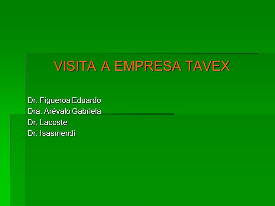 VISITA A EMPRESA TAVEX Dr. Figueroa Eduardo Dra. Arévalo Gabriela