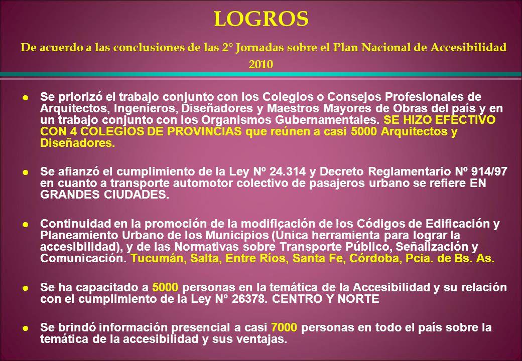 LOGROS De acuerdo a las conclusiones de las 2° Jornadas sobre el Plan Nacional de Accesibilidad 2010