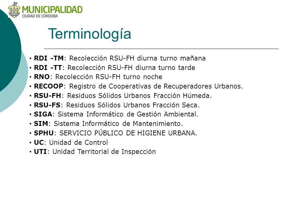 Terminología RDI -TM: Recolección RSU-FH diurna turno mañana