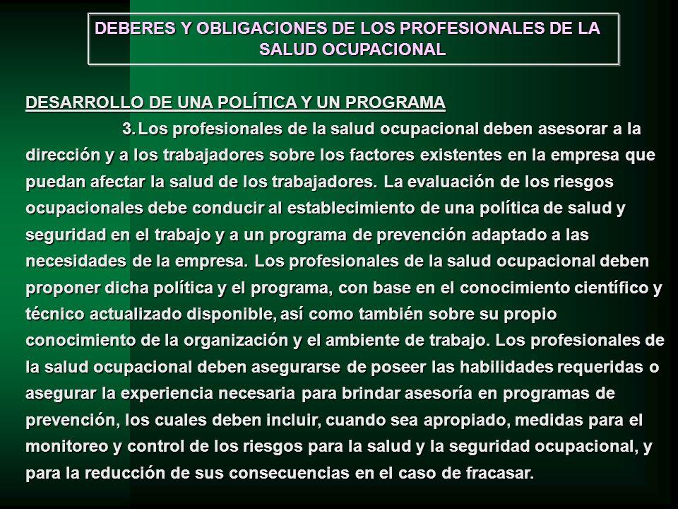 DEBERES Y OBLIGACIONES DE LOS PROFESIONALES DE LA