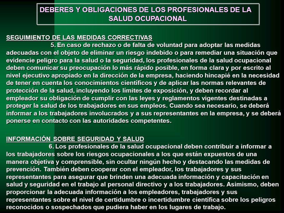 DEBERES Y OBLIGACIONES DE LOS PROFESIONALES DE LA SALUD OCUPACIONAL