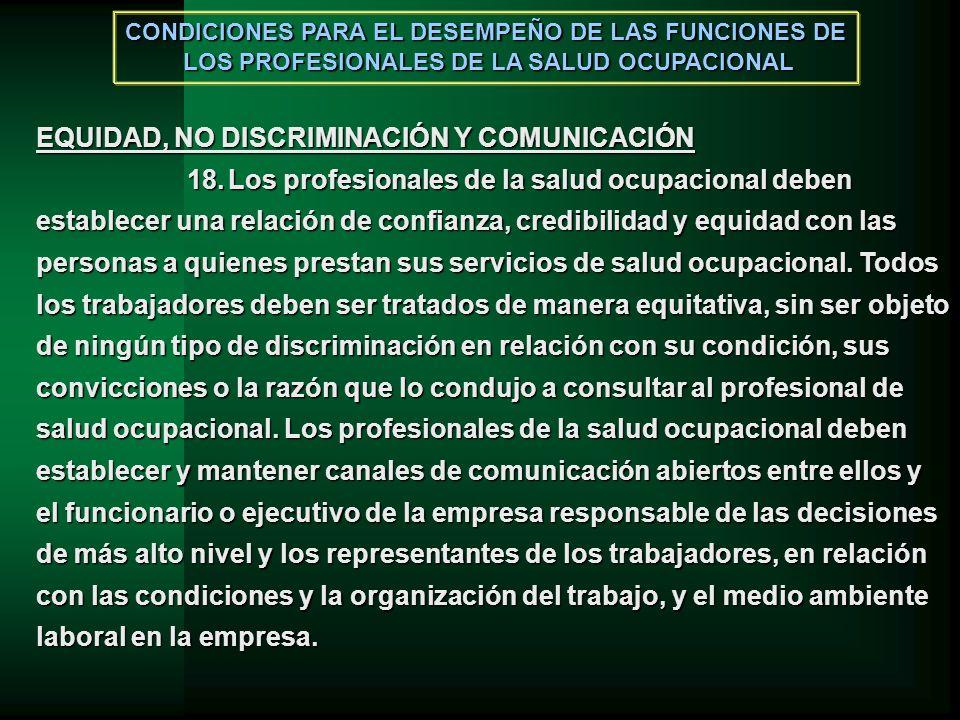 EQUIDAD, NO DISCRIMINACIÓN Y COMUNICACIÓN