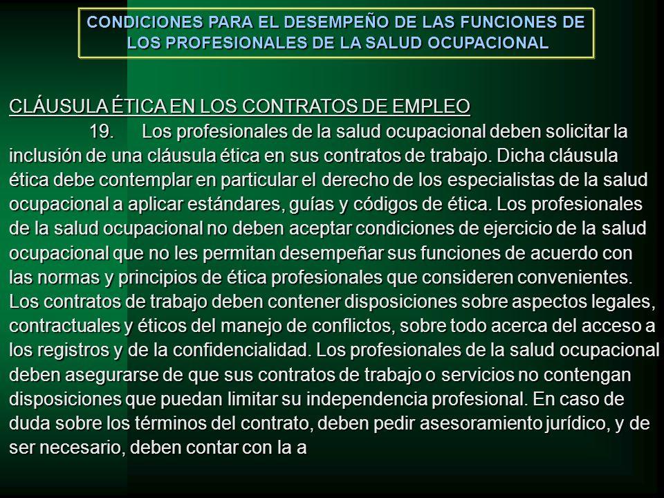 CLÁUSULA ÉTICA EN LOS CONTRATOS DE EMPLEO