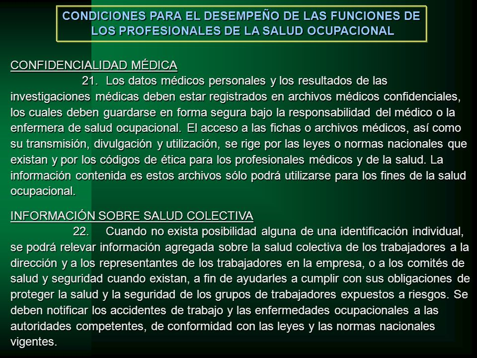 CONDICIONES PARA EL DESEMPEÑO DE LAS FUNCIONES DE