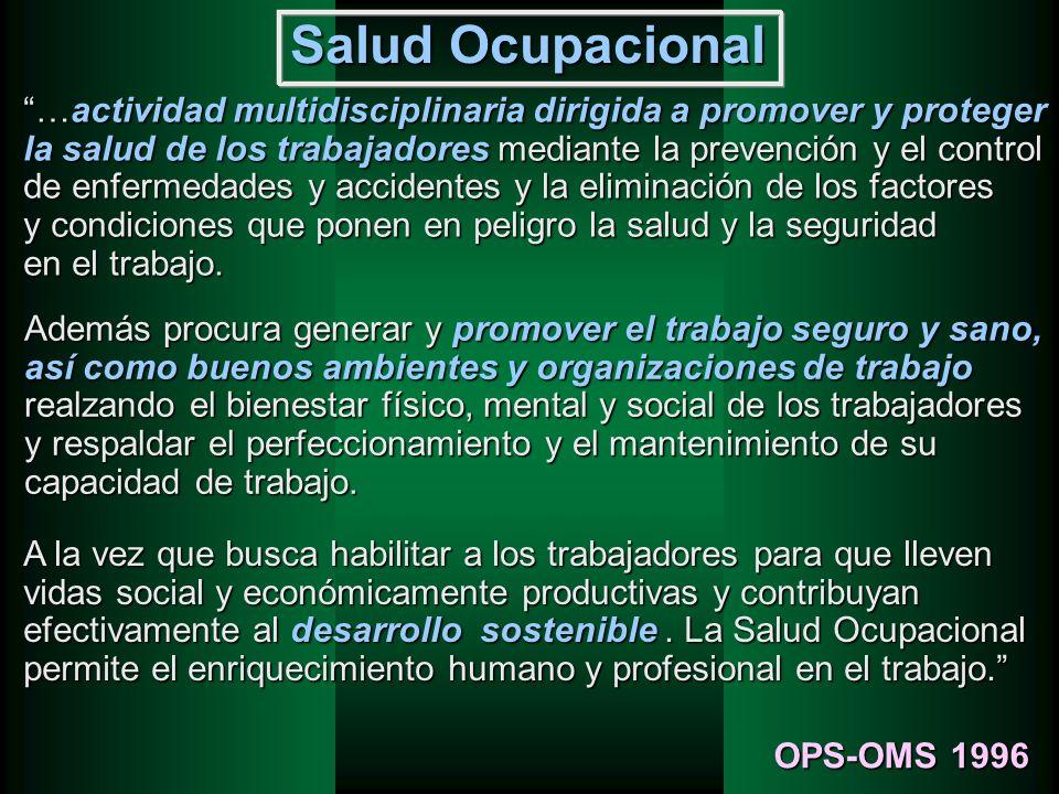 Salud Ocupacional …actividad multidisciplinaria dirigida a promover y proteger. la salud de los trabajadores mediante la prevención y el control.