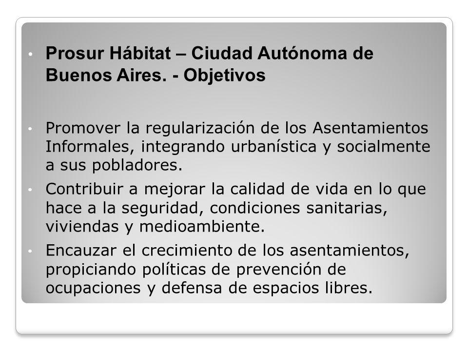 Prosur Hábitat – Ciudad Autónoma de Buenos Aires. - Objetivos