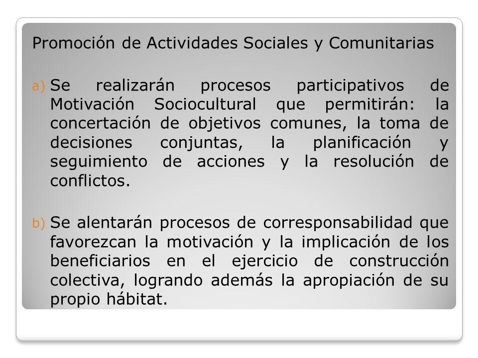 Promoción de Actividades Sociales y Comunitarias