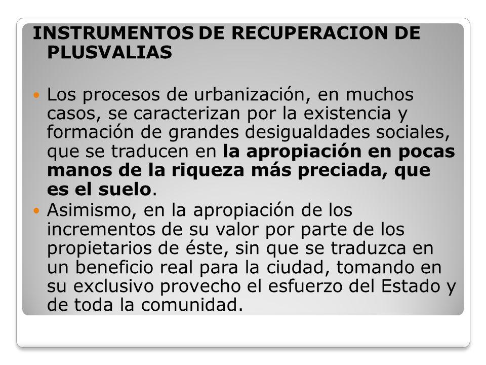 INSTRUMENTOS DE RECUPERACION DE PLUSVALIAS