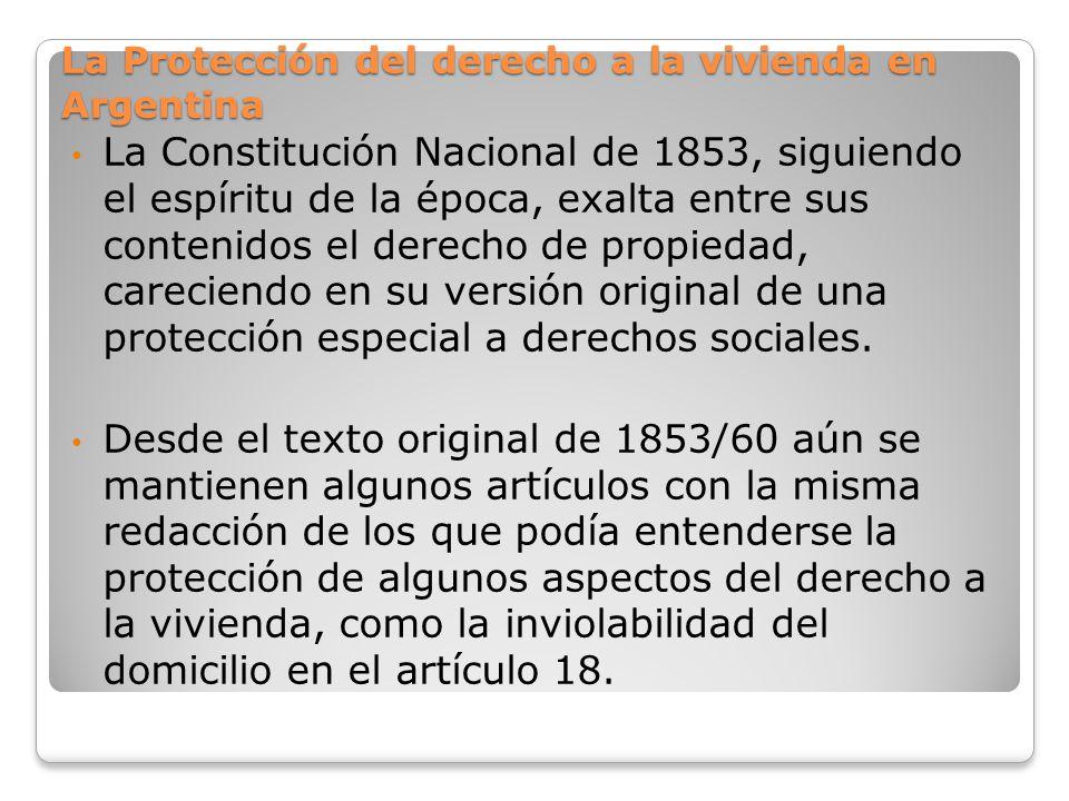 La Protección del derecho a la vivienda en Argentina