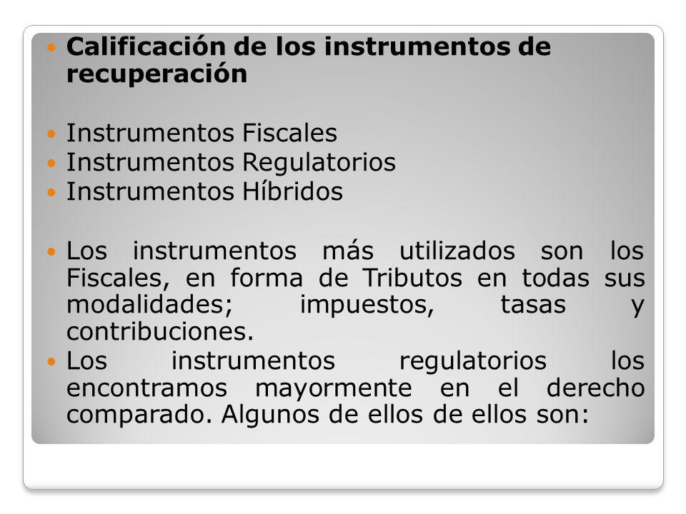Calificación de los instrumentos de recuperación