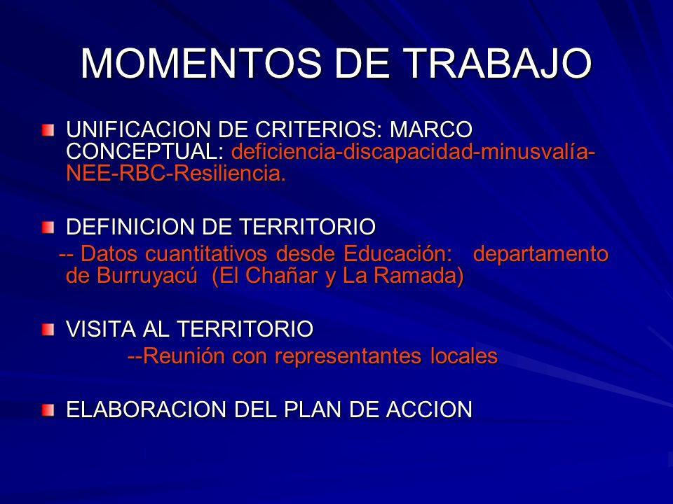 MOMENTOS DE TRABAJO UNIFICACION DE CRITERIOS: MARCO CONCEPTUAL: deficiencia-discapacidad-minusvalía-NEE-RBC-Resiliencia.